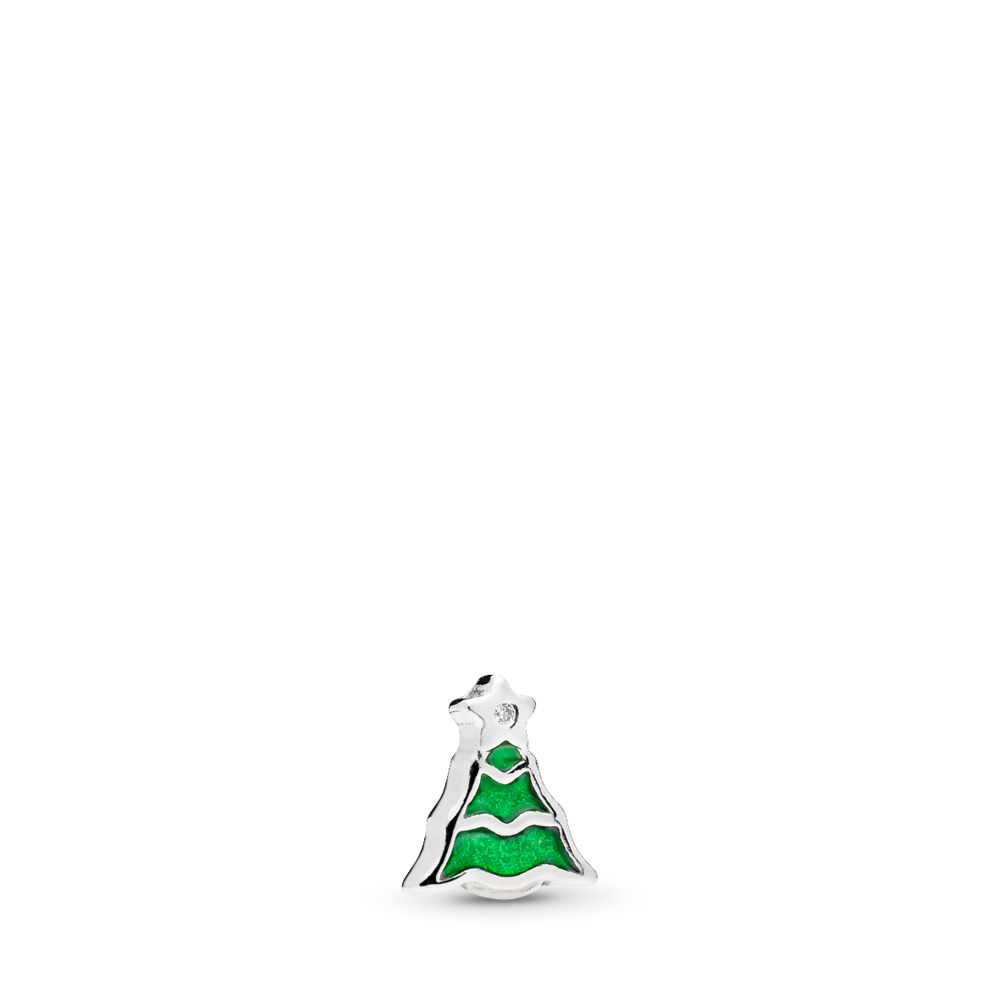 Christmas Tree Petite Locket Charm, Green Enamel & Clear CZ, Sterling silver, Enamel, Green, Cubic Zirconia - PANDORA - #796395EN25