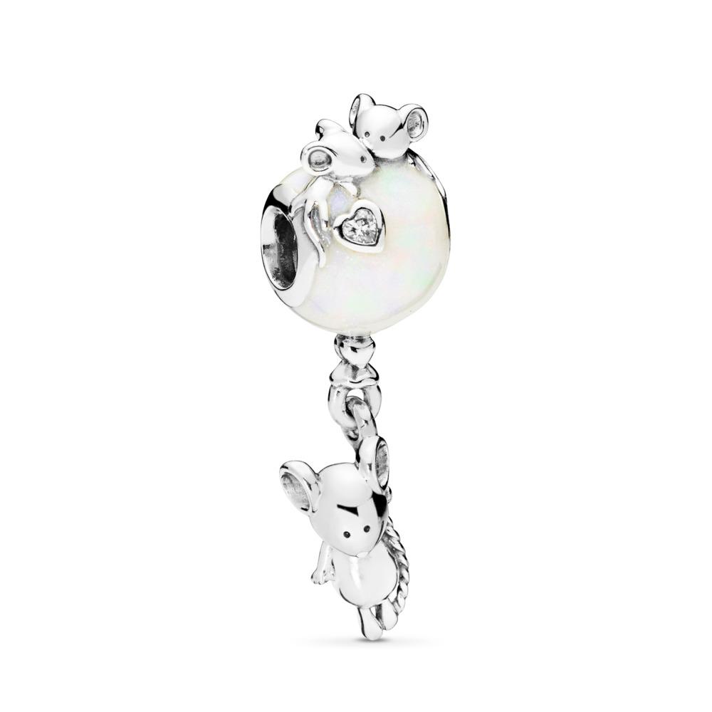 Mouse & Balloon Dangle Charm, Pearlescent Enamel, Sterling silver, Enamel, Silver, Cubic Zirconia - PANDORA - #797240EN23