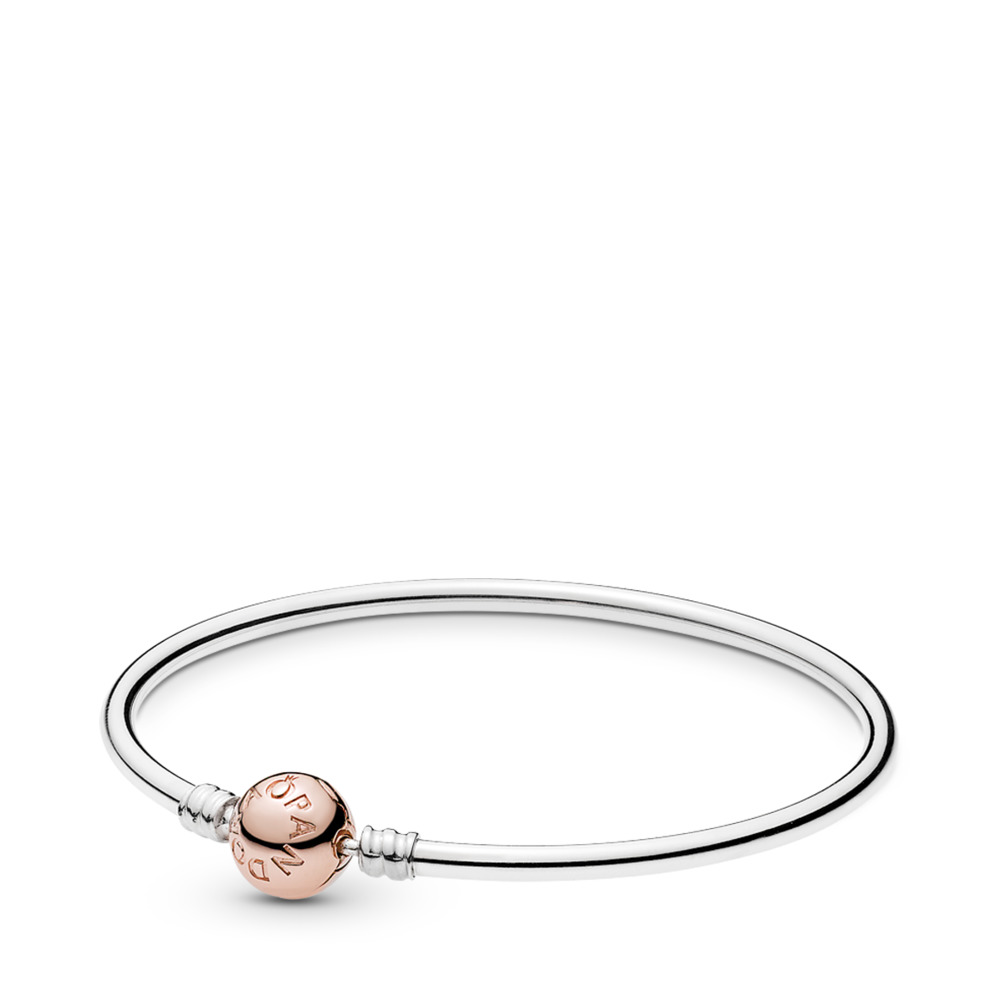 Sterling Silver Bangle Bracelet w/ PANDORA Rose™ Clasp, PANDORA Rose with sterling silver - PANDORA - #580713