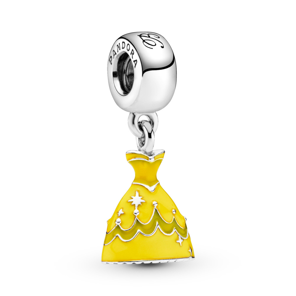 Disney, Belle's Dress Dangle Charm, Mixed Enamel, Sterling silver, Enamel, Yellow - PANDORA - #791576ENMX