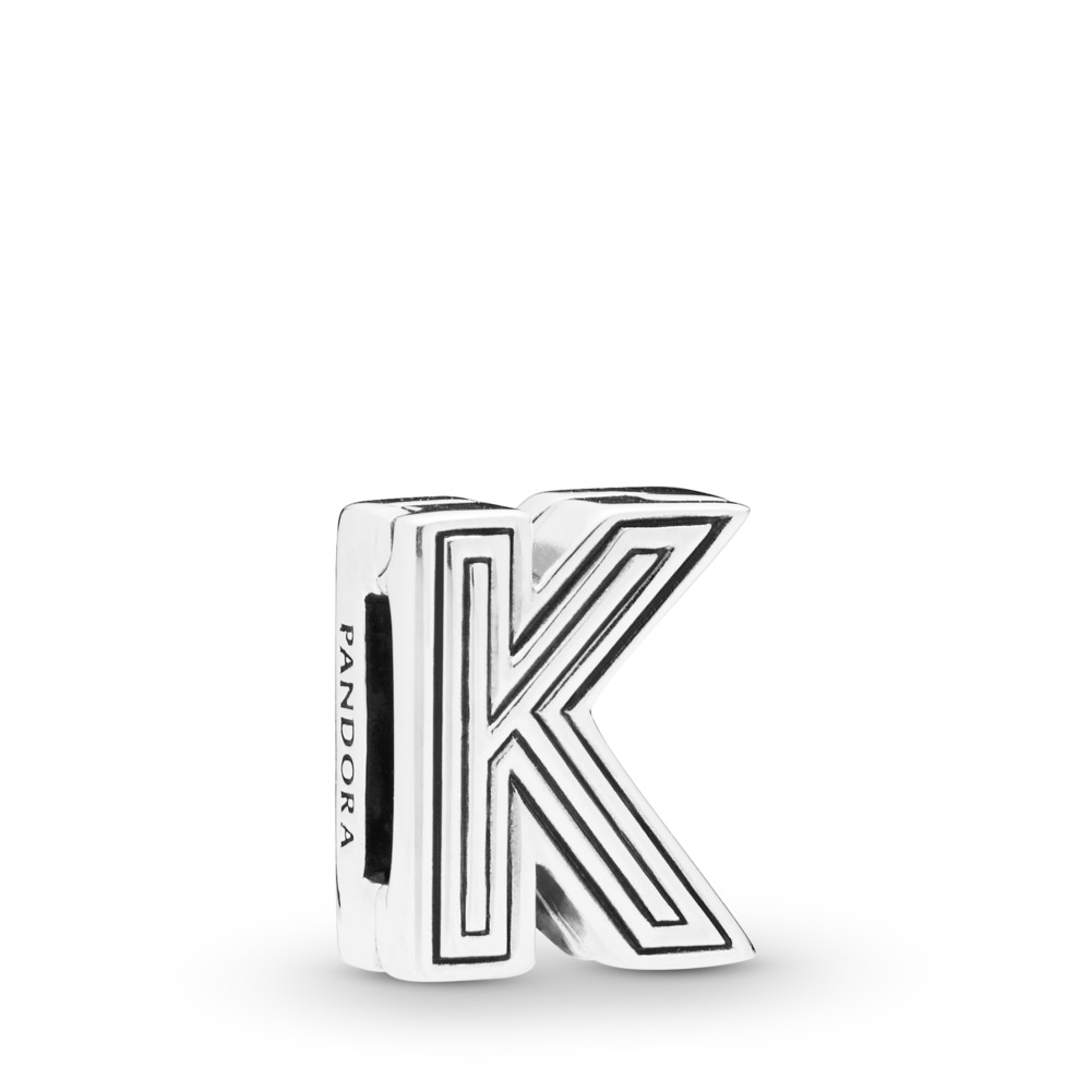 Pandora Reflexions™ Letter K Clip Charm, Sterling silver, Silicone - PANDORA - #798207