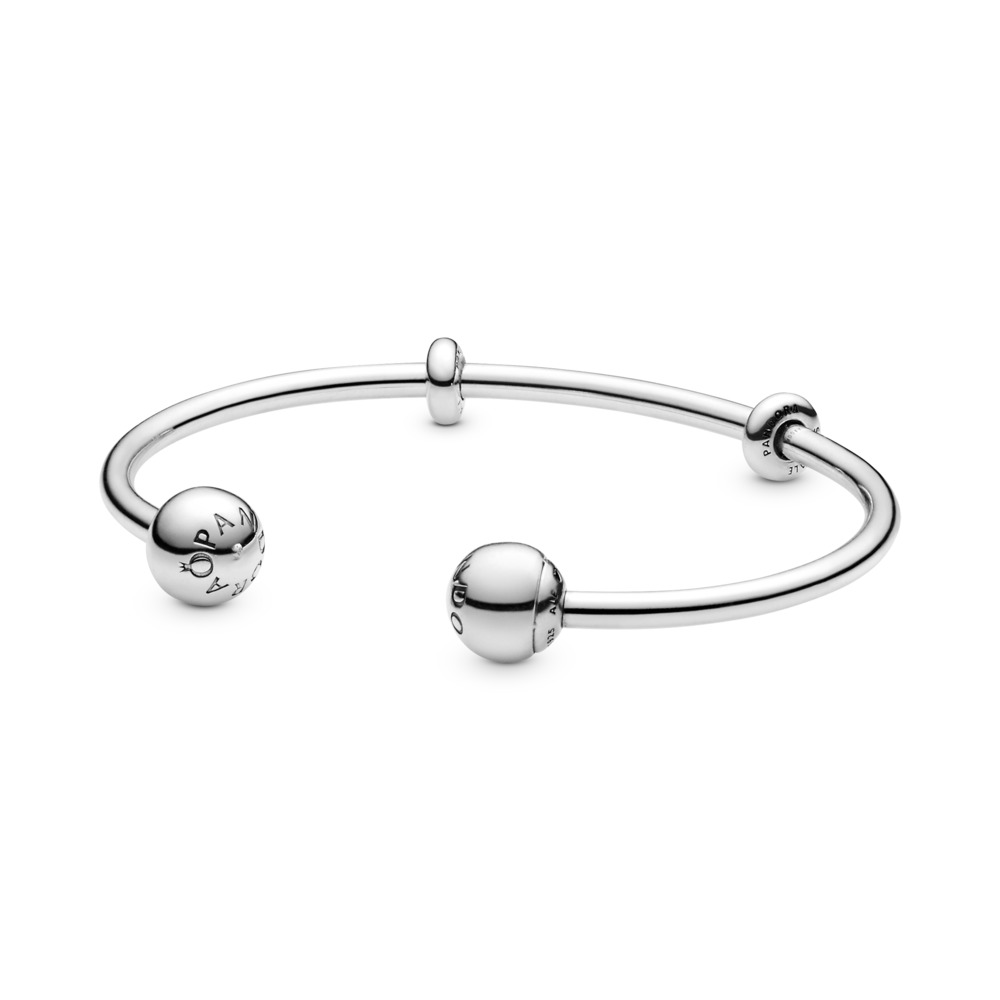Open Bangle Bracelet, Sterling silver, Silicone - PANDORA - #596477