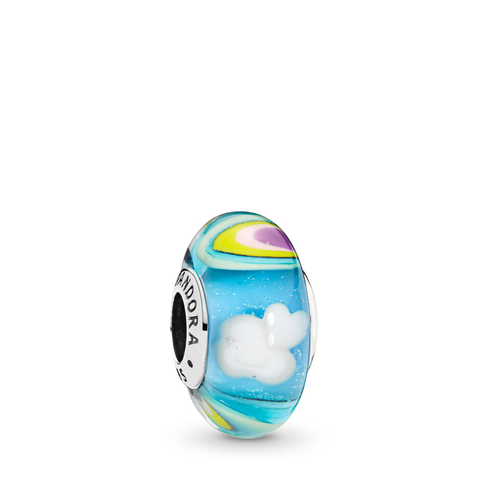 Iridescent Rainbow Charm, Murano Glass, Sterling silver, Glass, Blue - PANDORA - #797013