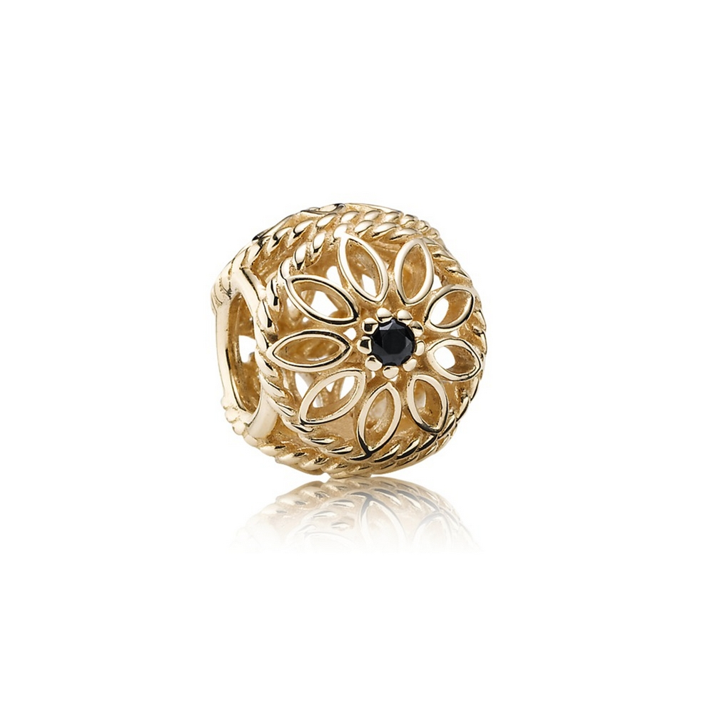 Delicate Beauty Charm, Black Spinel & 14K Gold