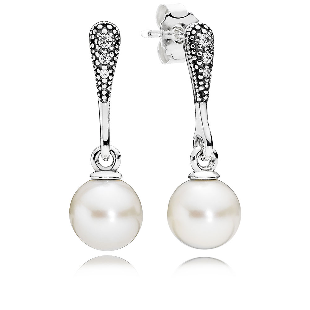 Elegant Beauty Drop Earrings, White Pearl & Clear CZ