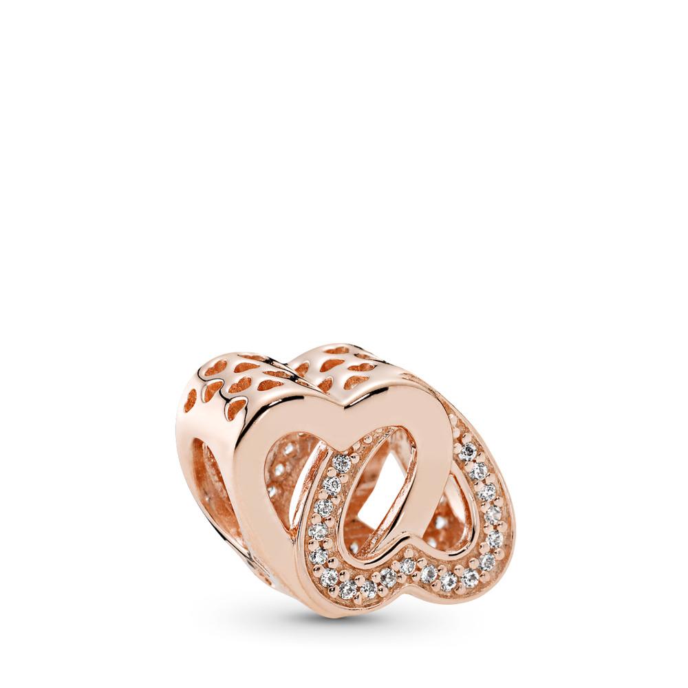 Entwined Love Charm, PANDORA Rose™ & Clear CZ, PANDORA Rose, Cubic Zirconia - PANDORA - #781880CZ