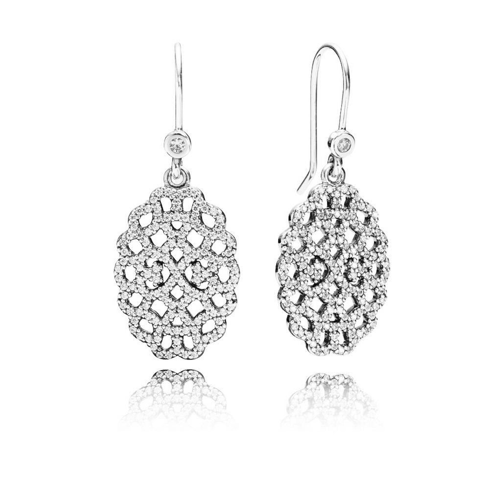 Shimmering Lace Drop Earrings, Clear CZ