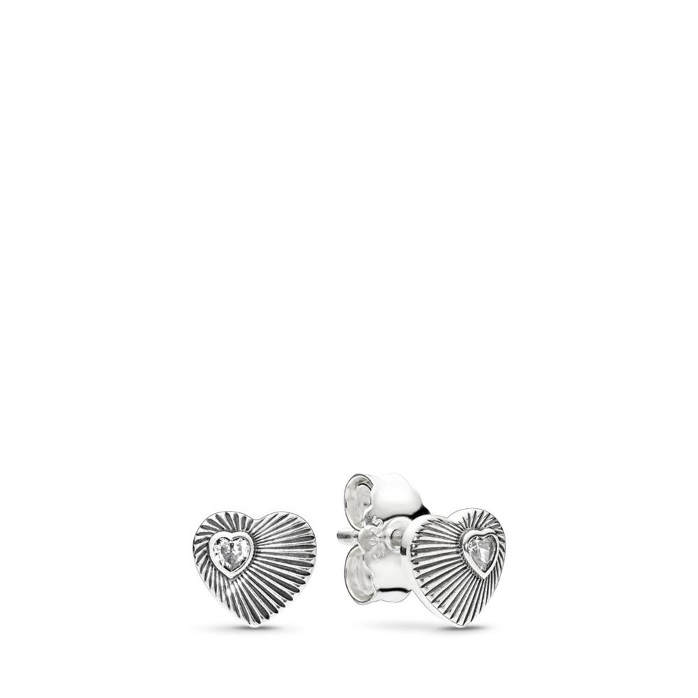 Vintage Heart Fans, Clear CZ, Sterling silver, Cubic Zirconia - PANDORA - #297298CZ