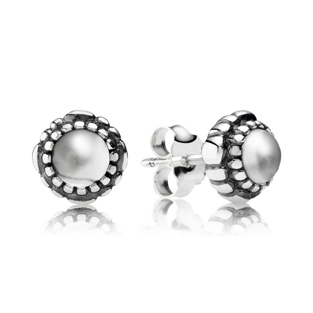 Birthday Blooms Stud Earrings, April, Rock Crystal