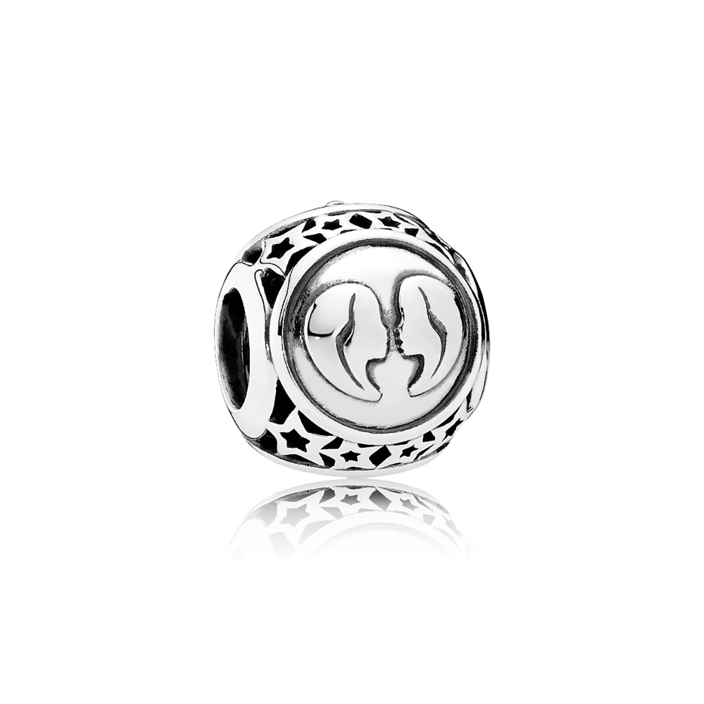 Gemini Star Sign Charm, Sterling silver - PANDORA - #791938