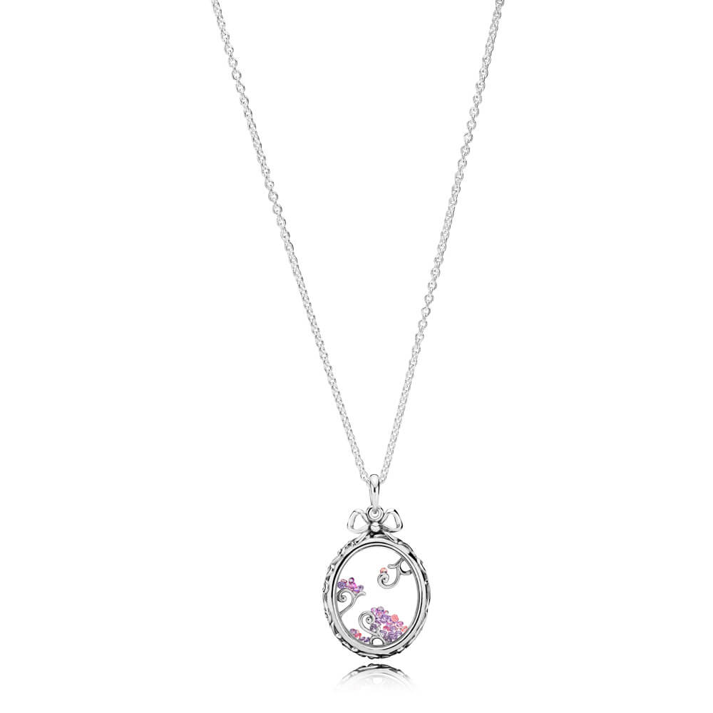 Locket of Dazzle Necklace, Multi-Colored CZ