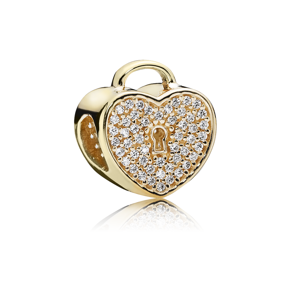 Heart Lock Charm, Clear CZ & 14K Gold