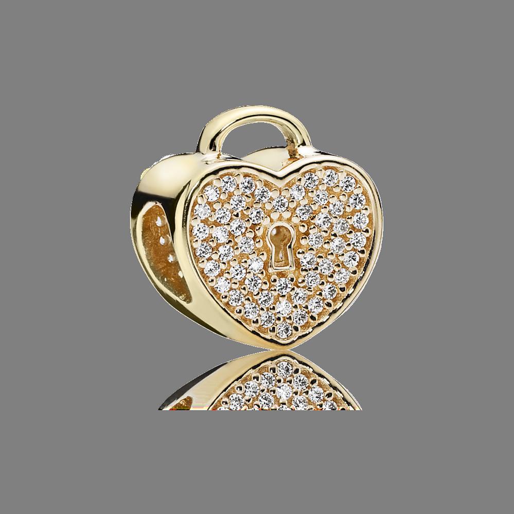 Heart Lock Charm, Clear CZ & 14K Gold