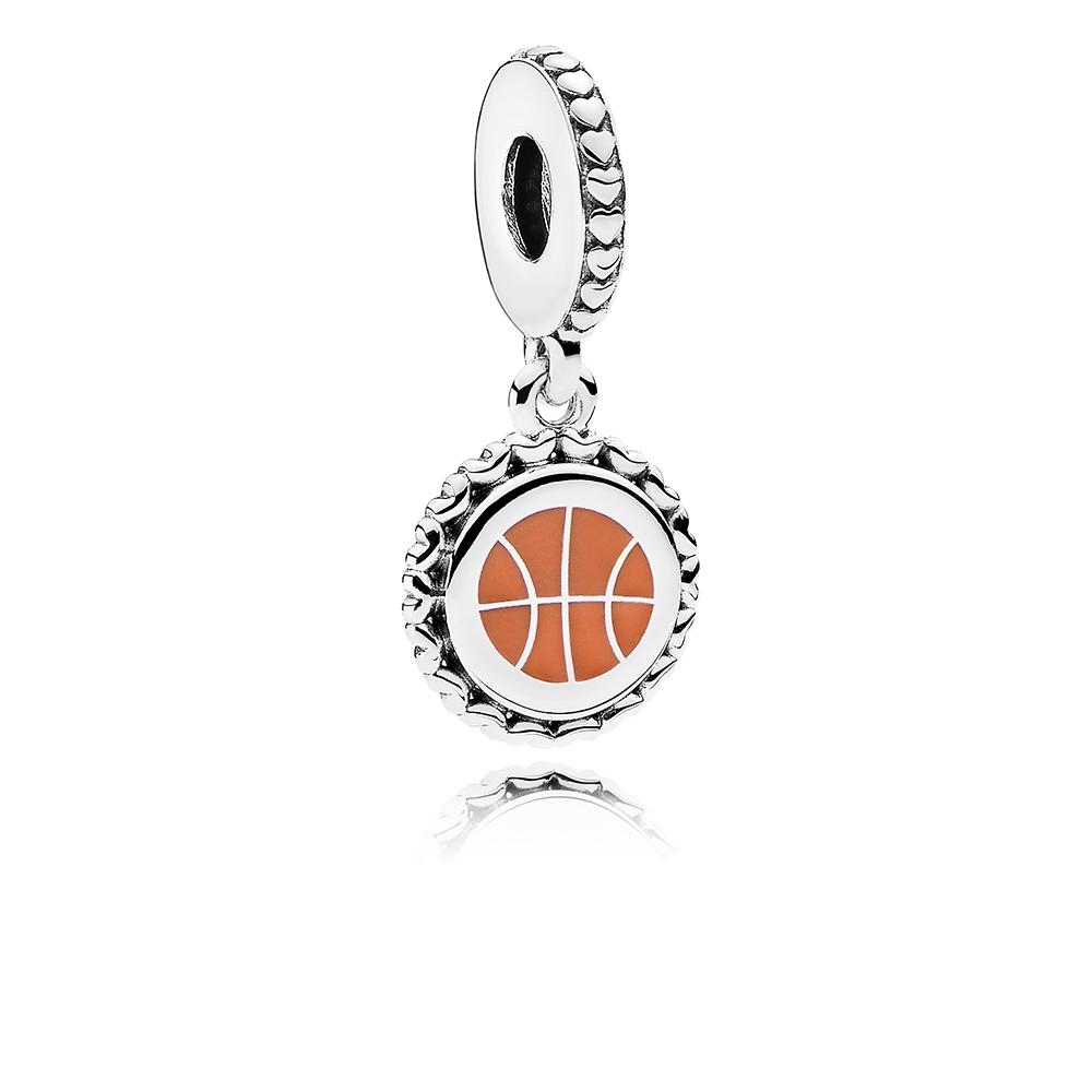 Basketball Dangle Charm, Mixed Enamel, Ster, Orange - PANDORA - #ENG792018_18