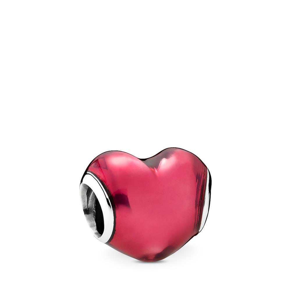 In My Heart Charm, Violet Enamel, Sterling silver, Enamel, Red - PANDORA - #791814EN62