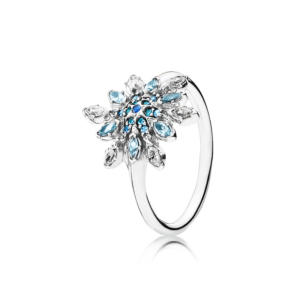 Crystalized Snowflake Ring, Blue Crystals & Clear CZ, Sterling silver, Blue, Mixed stones - PANDORA - #190969NBLMX