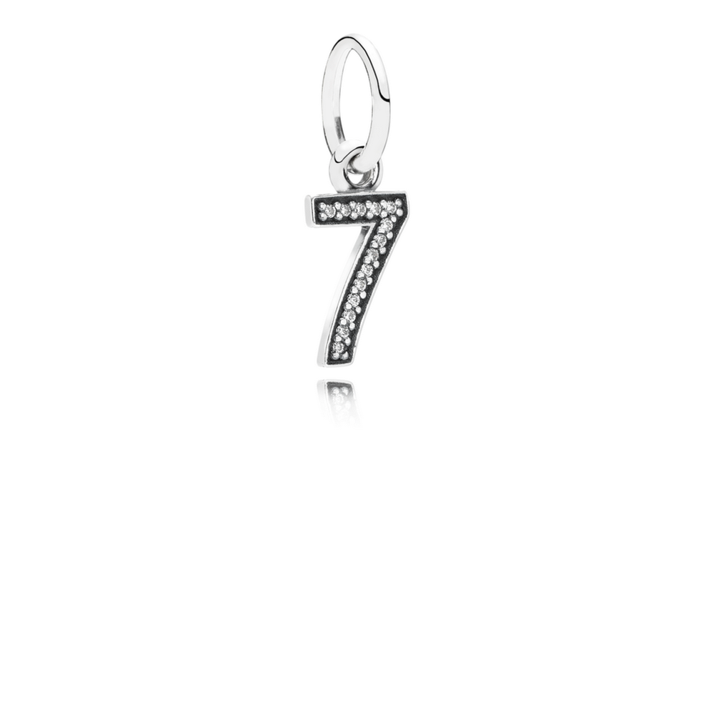 Number 7 Dangle Charm, Clear CZ
