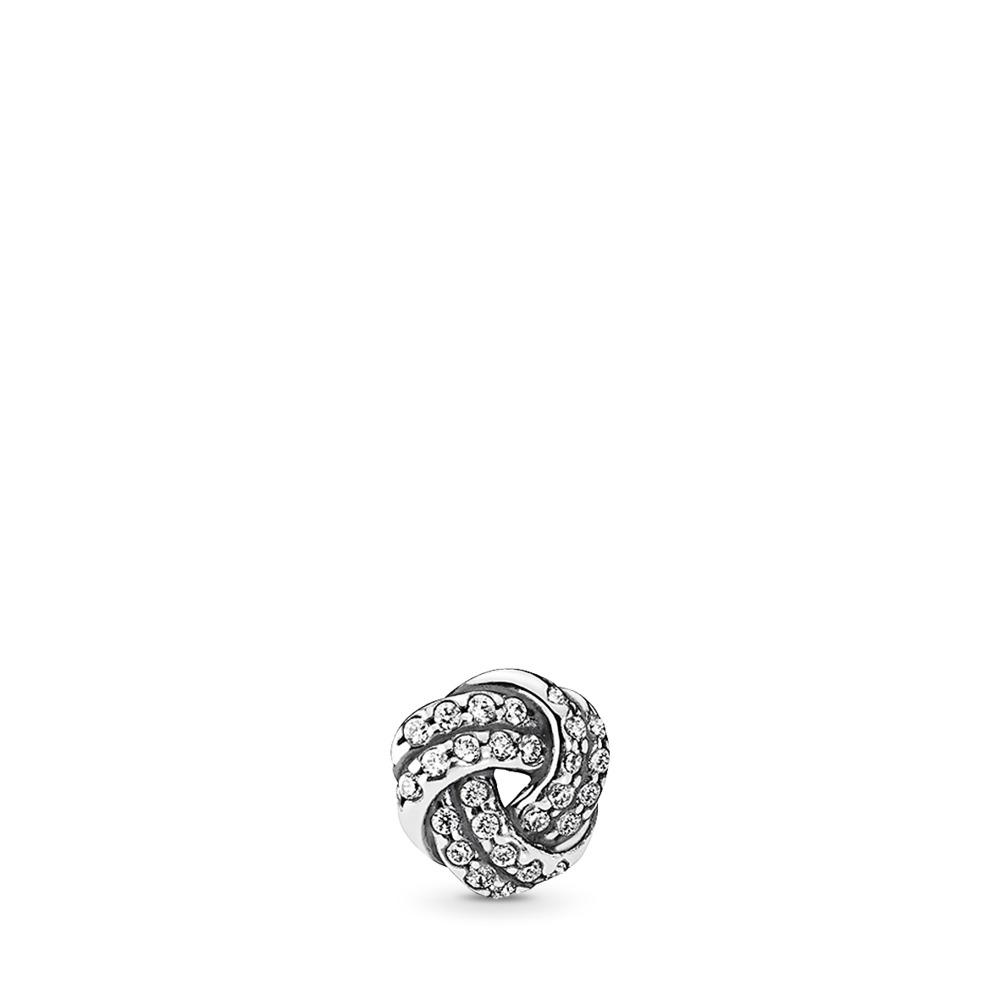 Sparkling Love Knot Petite Locket Charm, Sterling silver, Cubic Zirconia - PANDORA - #792179CZ