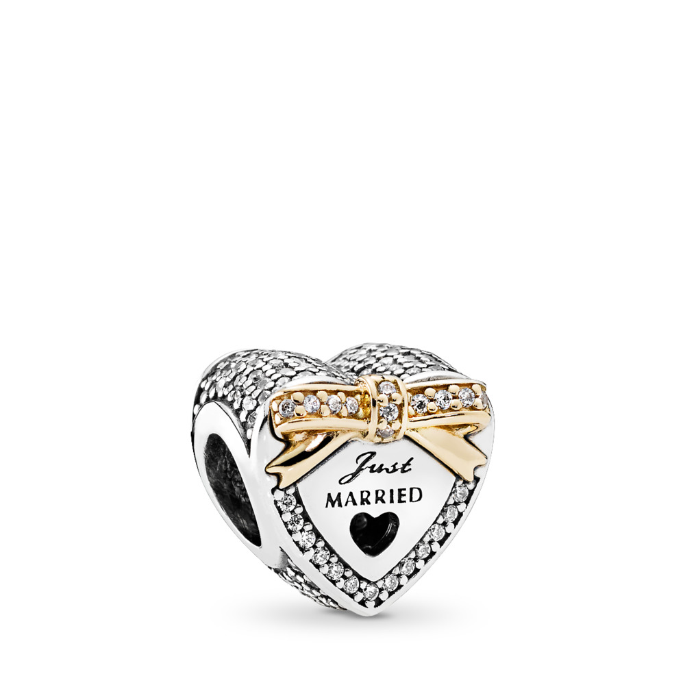 Wedding Heart Charm, Clear CZ, Two Tone, Cubic Zirconia - PANDORA - #792083CZ