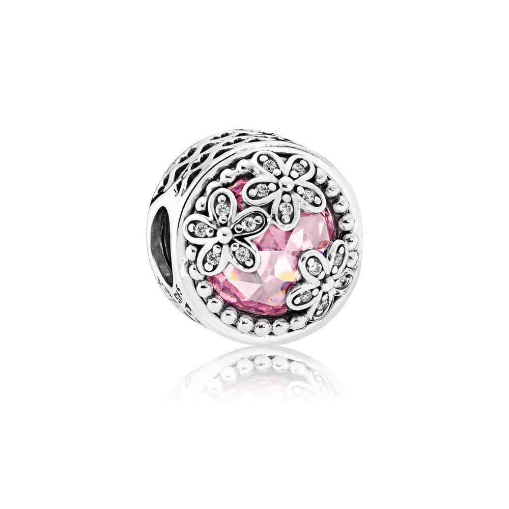 Dazzling Daisy Meadow, Pink & Clear CZ