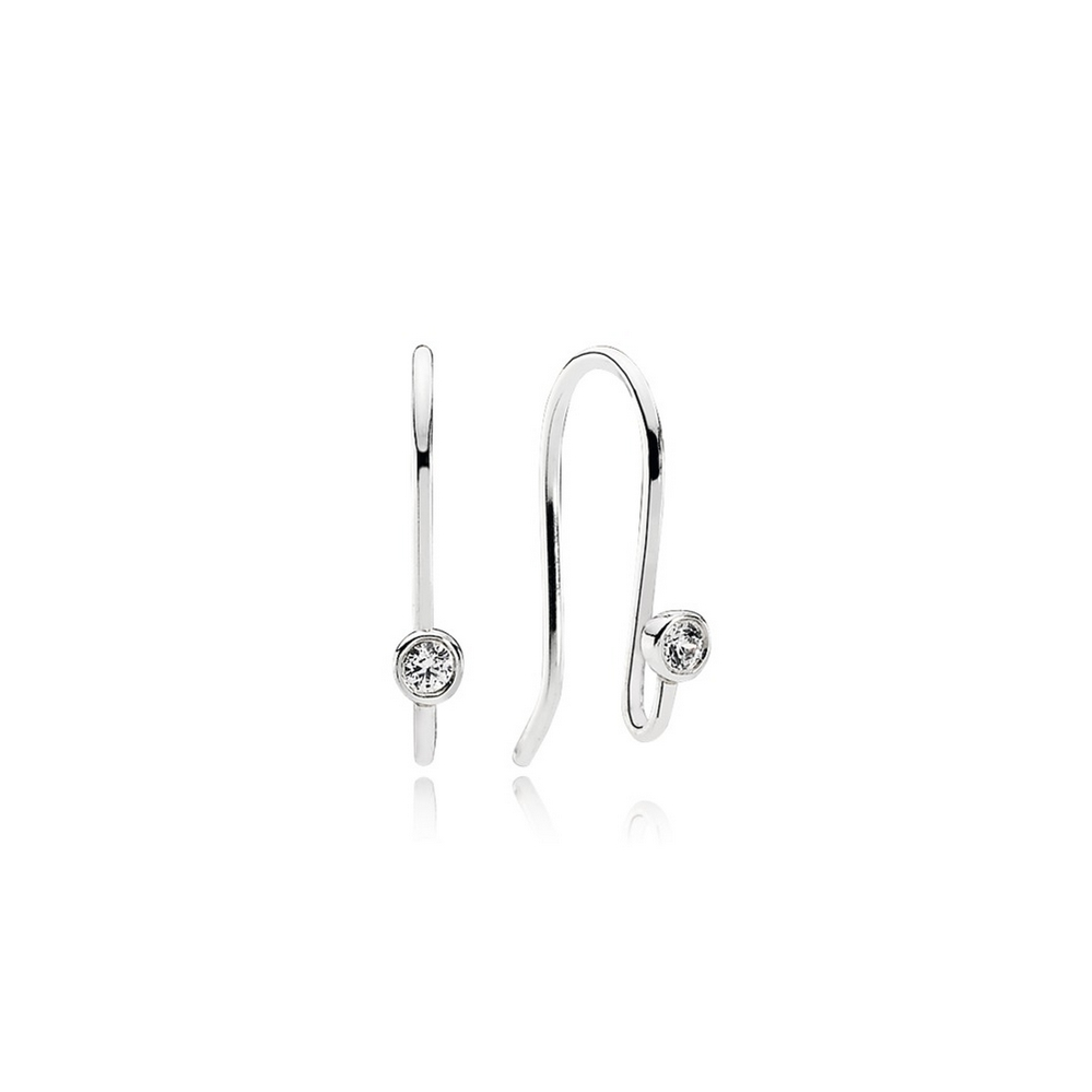 Post Earrings, Clear CZ