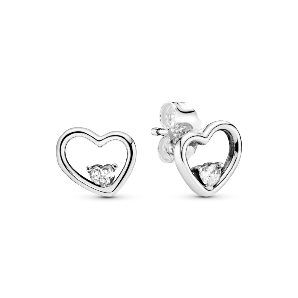 Asymmetric Hearts of Love Earrings, Clear CZ, Sterling silver, Cubic Zirconia - PANDORA - #297813CZ