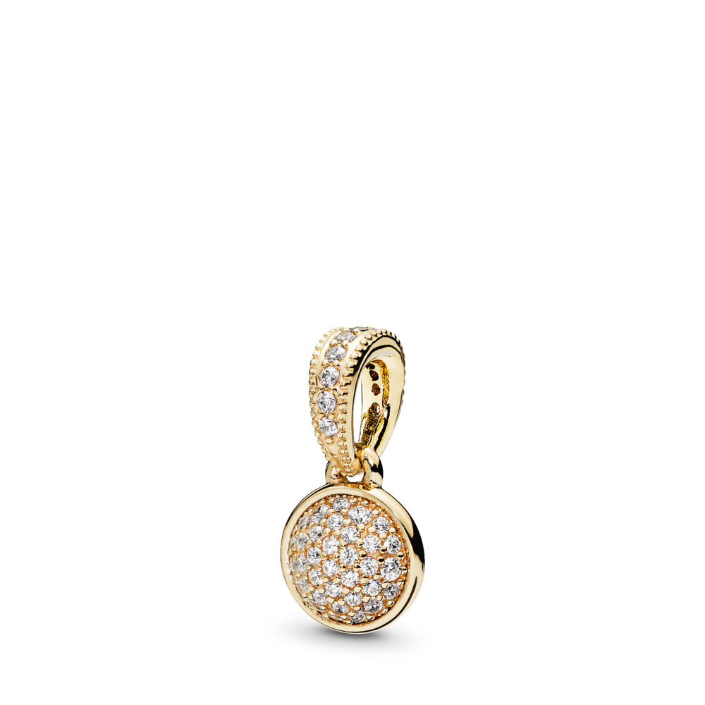Dazzling Droplet Pendant, 14K Gold & Clear CZ, Yellow Gold 14 k, Cubic Zirconia - PANDORA - #356213CZ