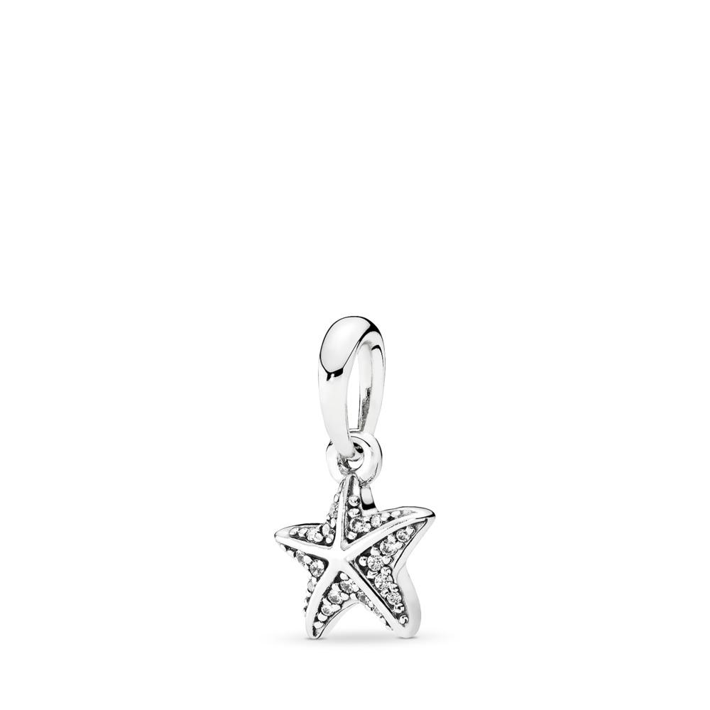 Tropical Starfish Pendant, Clear CZ, Sterling silver, Cubic Zirconia - PANDORA - #390403CZ