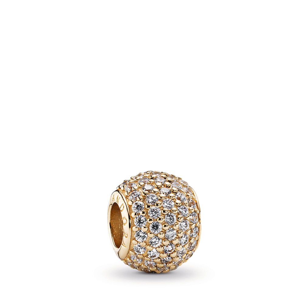 Pavé Lights Charm, Clear CZ & 14K Gold, Yellow Gold 14 k, Cubic Zirconia - PANDORA - #750819CZ