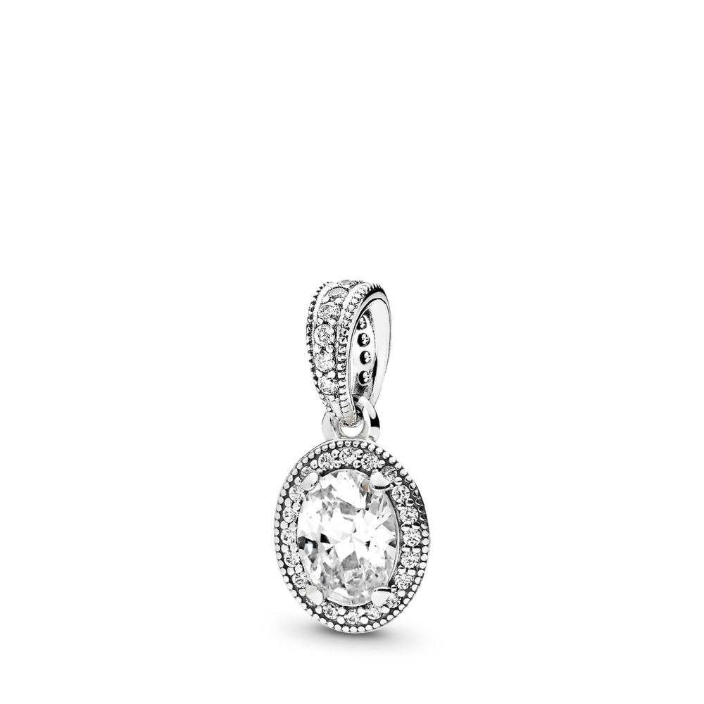 Vintage Elegance Pendant, Clear CZ, Sterling silver, Cubic Zirconia - PANDORA - #396246CZ