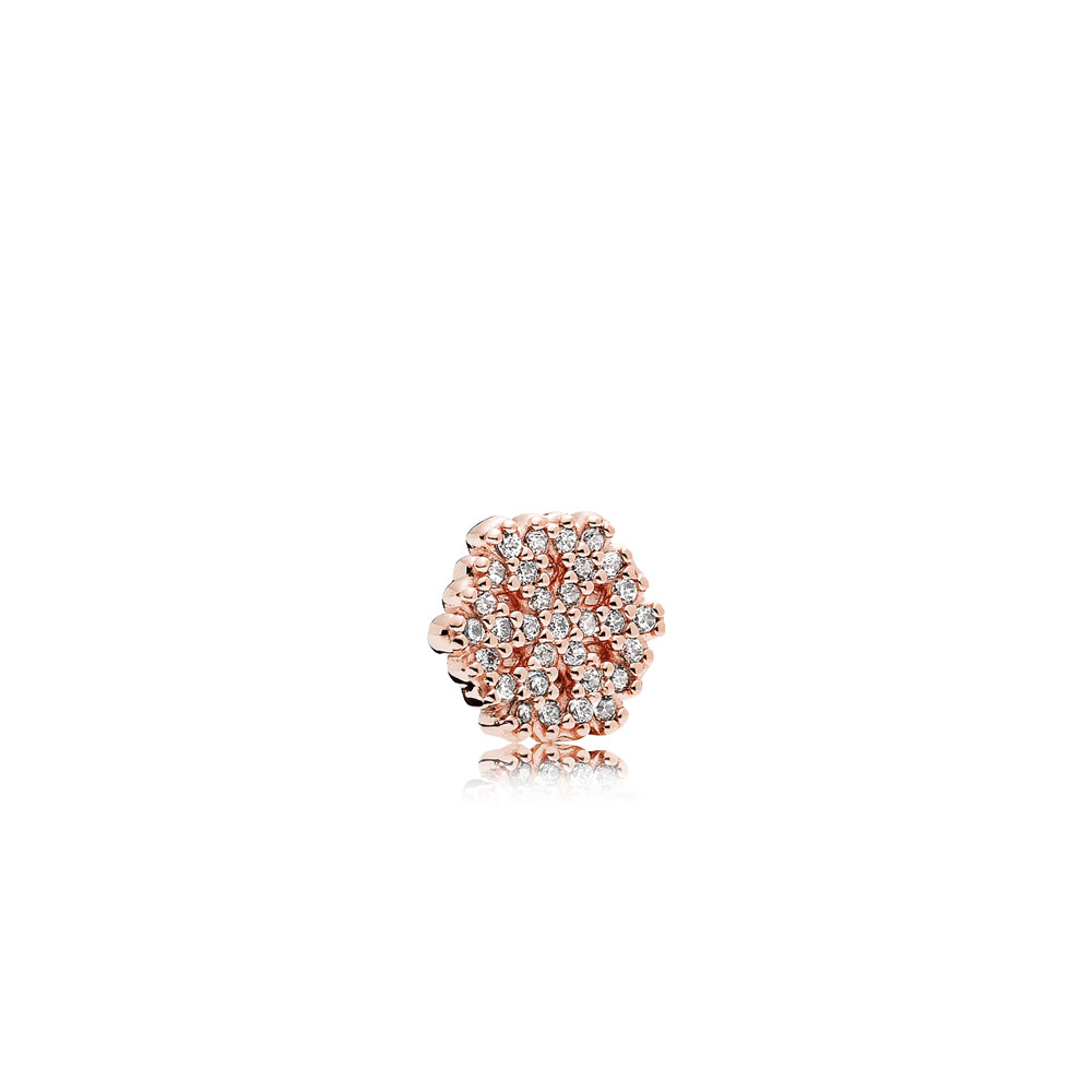 Shimmering Snowflake Petite Locket Charm, PANDORA Rose™ & Clear CZ