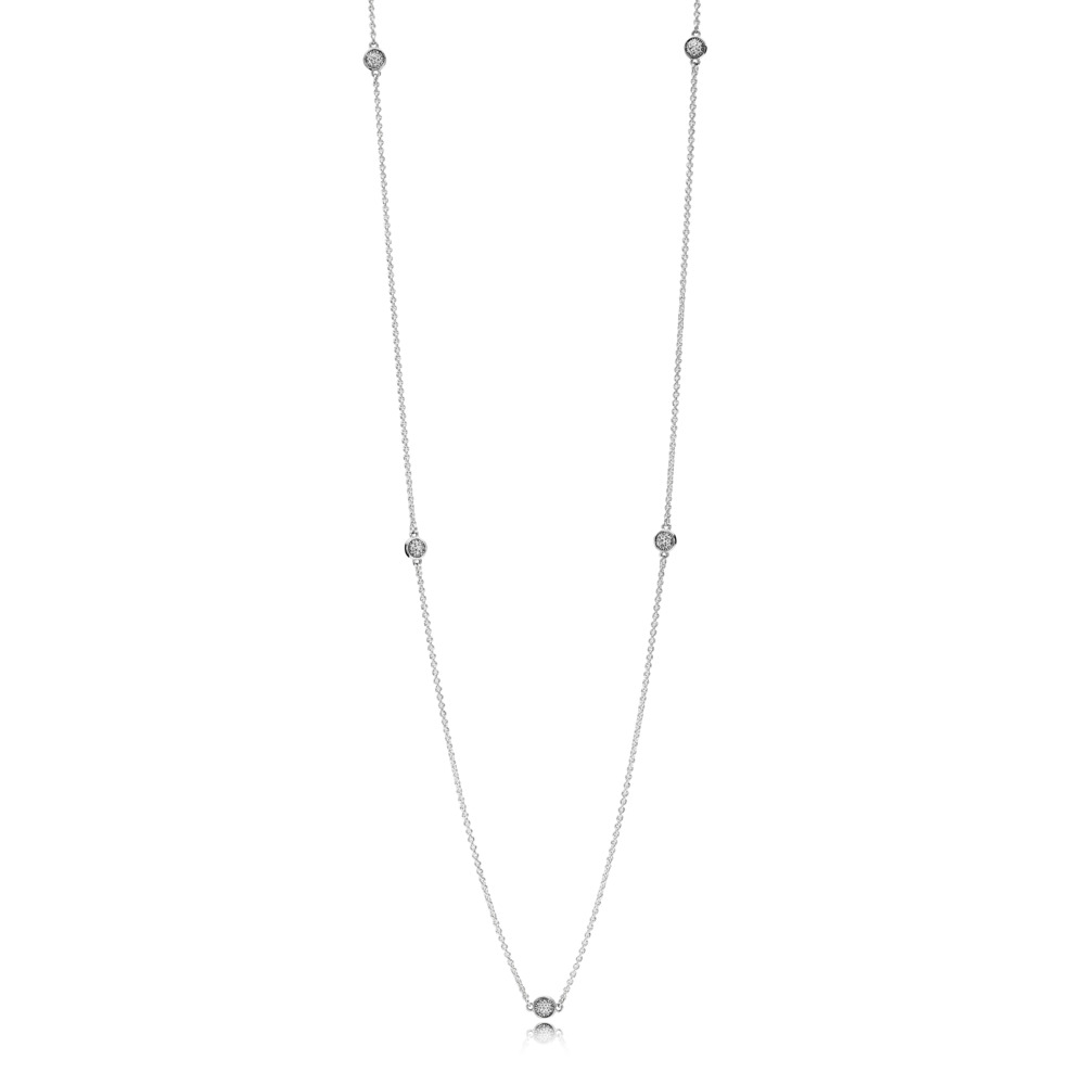 Dazzling Dainty Droplets Necklace, Clear CZ, Sterling silver, Cubic Zirconia - PANDORA - #590525CZ