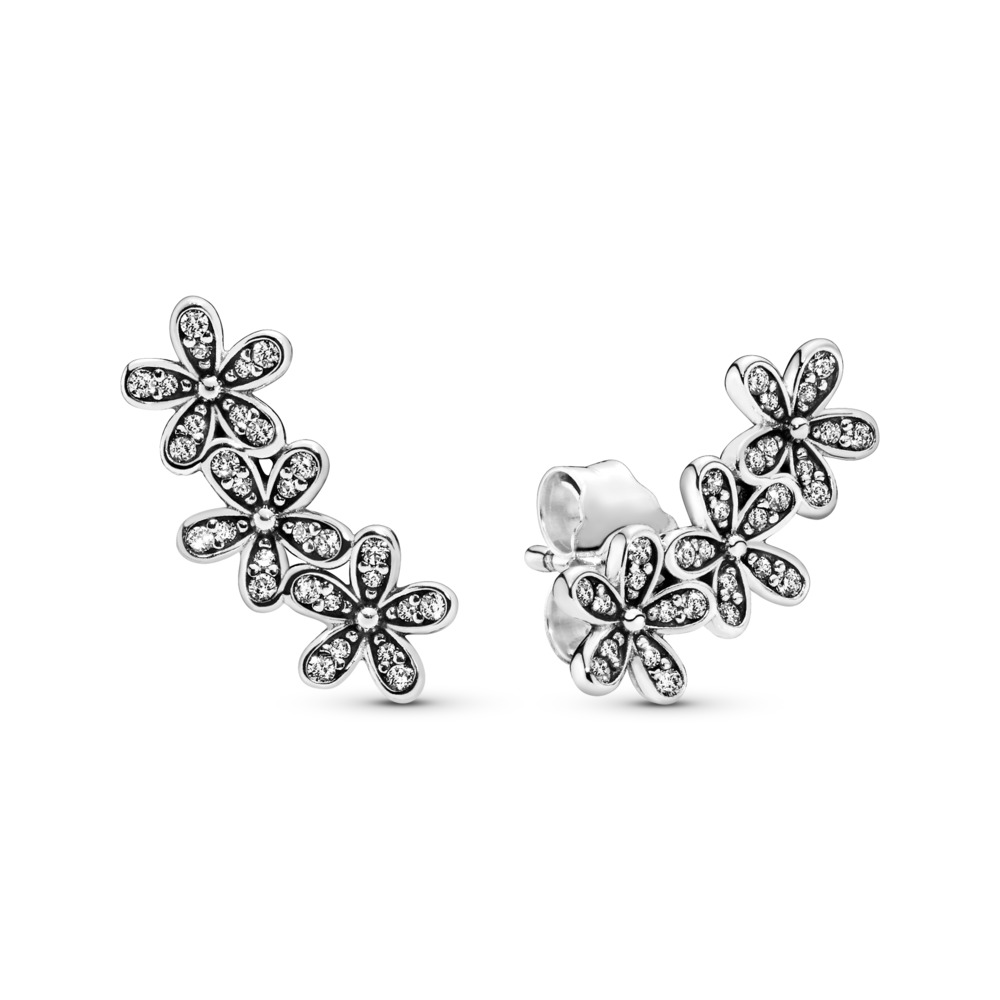 Dazzling Daisies Stud Earrings, Clear CZ, Sterling silver, Cubic Zirconia - PANDORA - #290744CZ