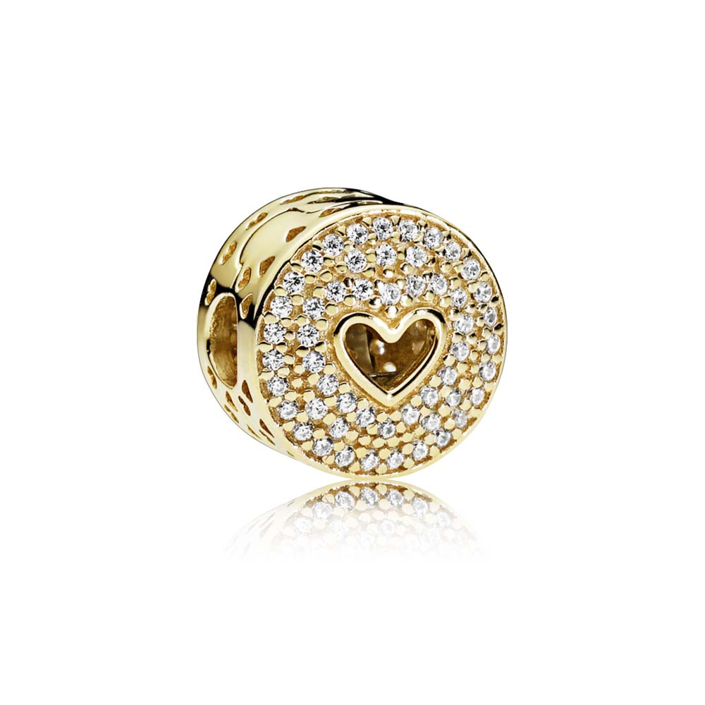 HEART OF LUXURY CLIP, 14K GOLD & CLEAR CZ