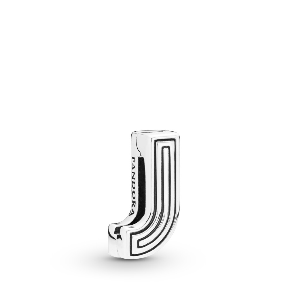 Pandora Reflexions™ Letter J Clip Charm, Sterling silver, Silicone - PANDORA - #798206