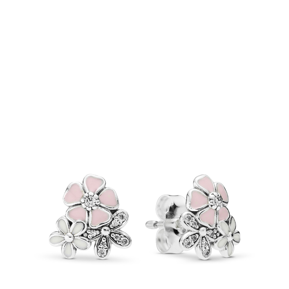 Poetic Blooms Stud Earrings, Mixed Enamels & Clear CZ, Sterling silver, Enamel, Pink, Cubic Zirconia - PANDORA - #290686ENMX