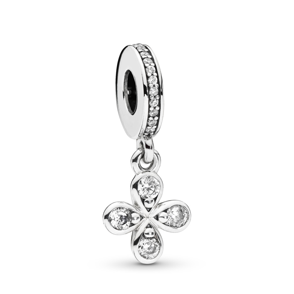 Four-Petal Flower Dangle Charm, Sterling silver, Cubic Zirconia - PANDORA - #797969CZ