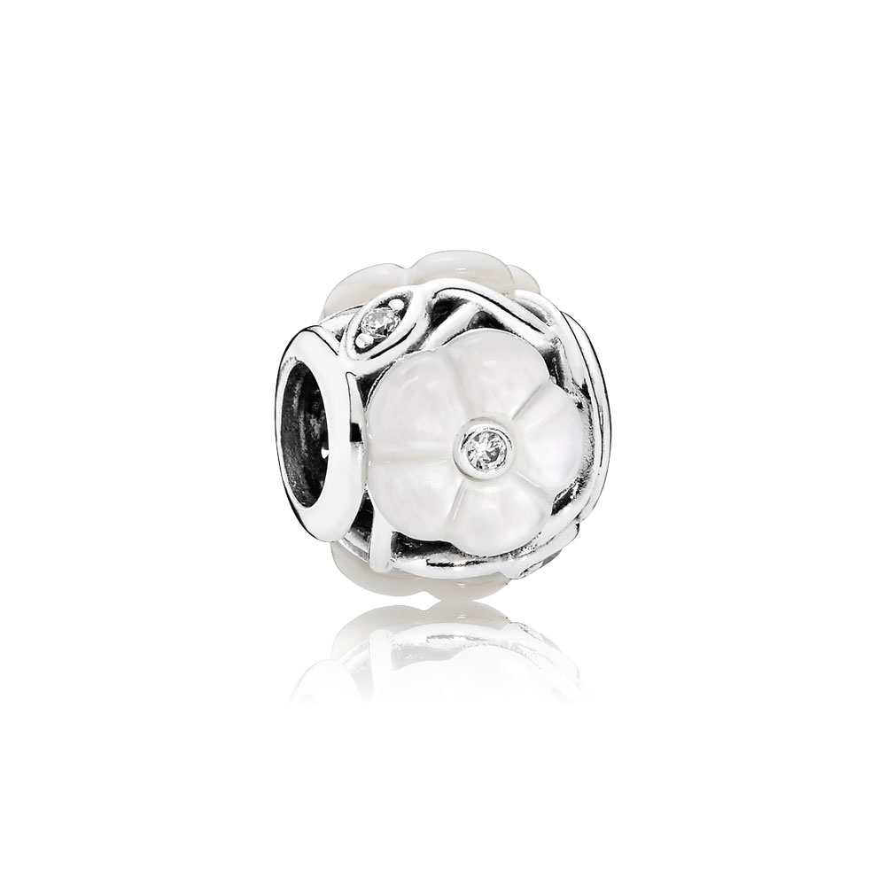 Luminous Florals Charm, Mother-Of-Pearl & Clear CZ