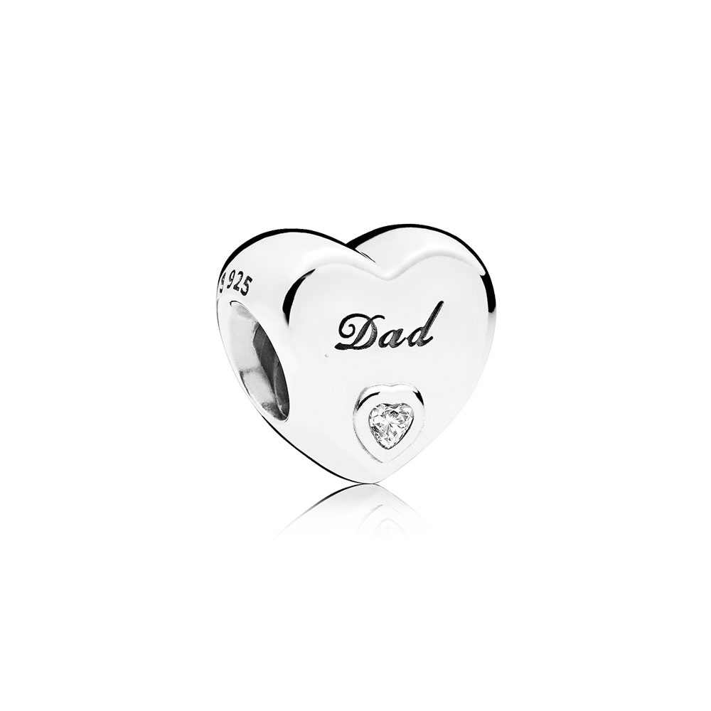 Dad's Love Charm, Clear CZ