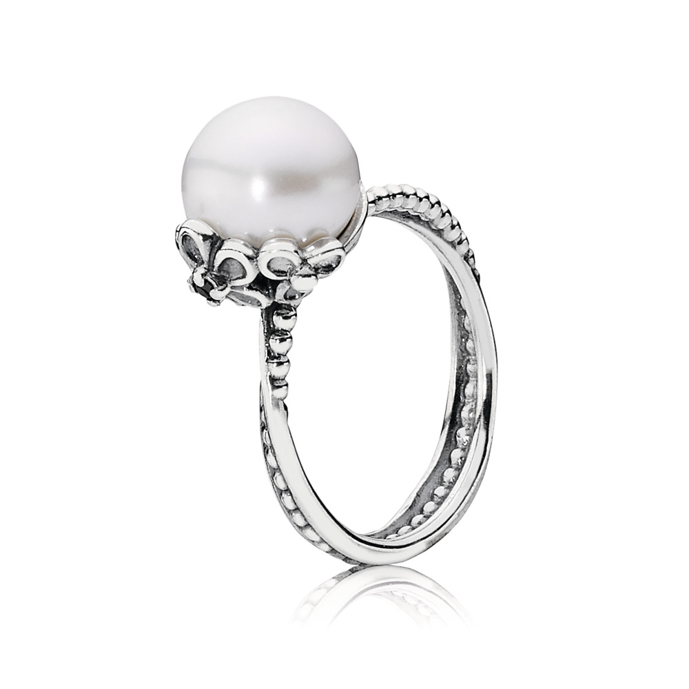 Garden Odyssey Ring, Pearl & Black CZ, Sterling silver, White, Mixed stones - PANDORA - #190848P