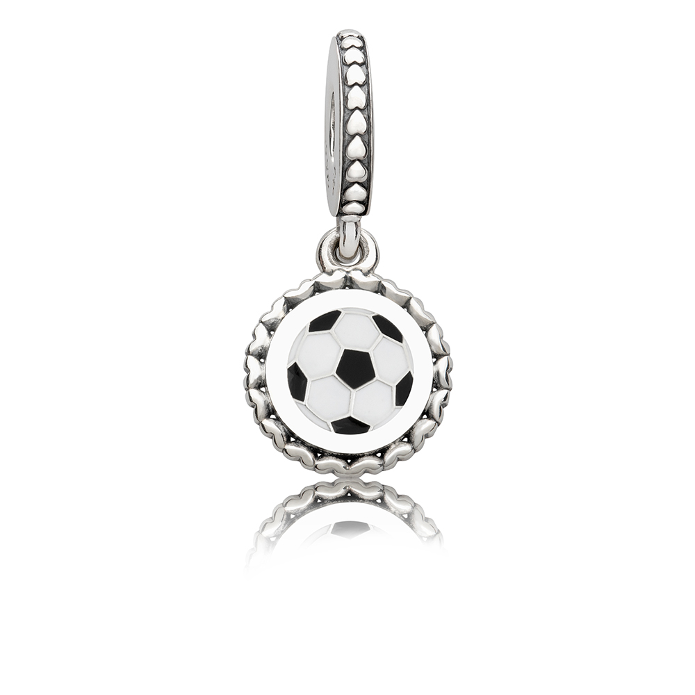 Soccer Dangle Charm, Mixed Enamel, Sterling Silver, Black - PANDORA - #ENG792018_16