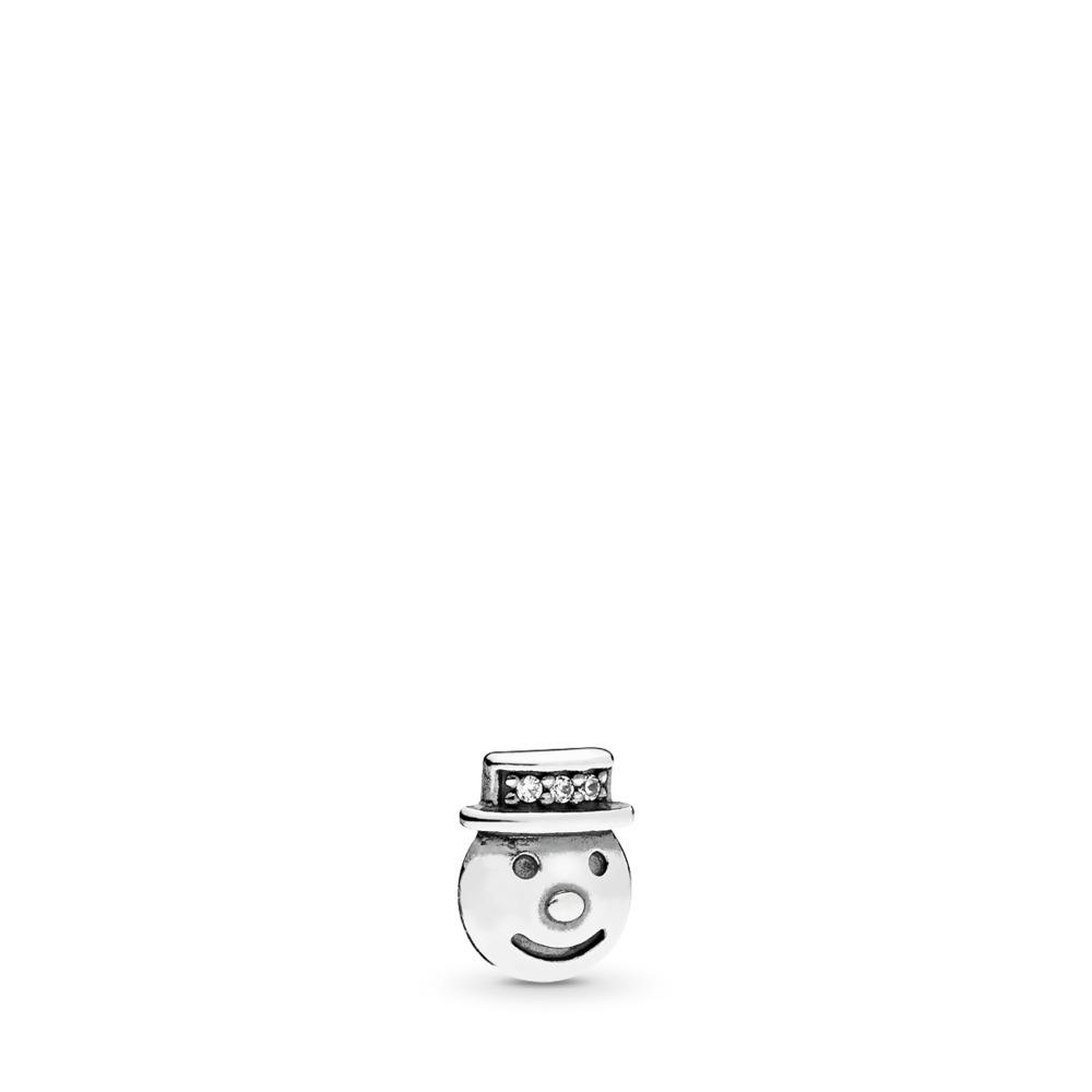 Happy Snowman Petite Locket Charm, Clear CZ, Sterling silver, Cubic Zirconia - PANDORA - #796383CZ