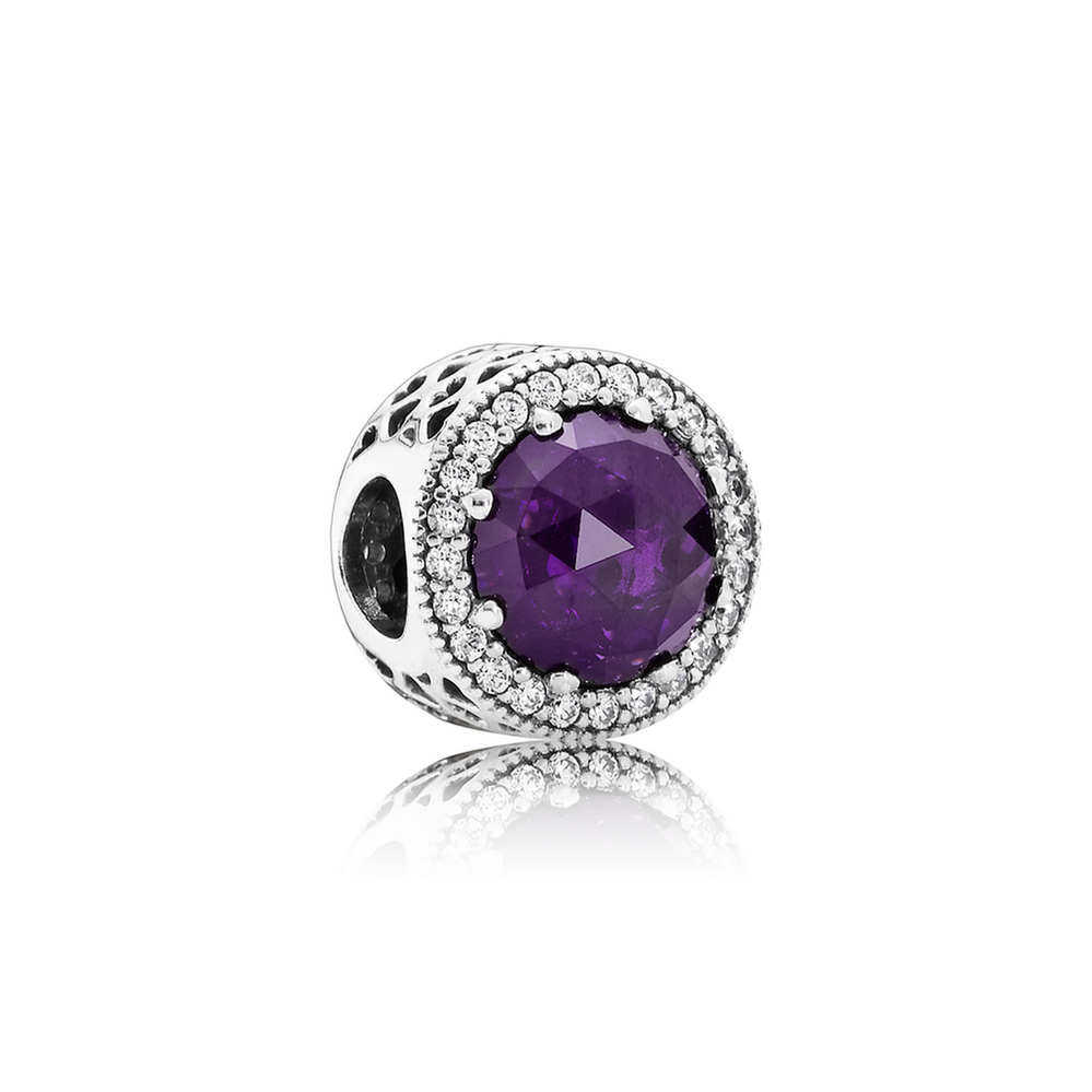 Radiant Hearts Charm, Royal-Purple Crystal & Clear CZ