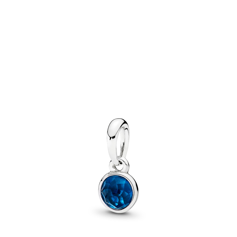 December Droplet Pendant, London Blue Crystal, Sterling silver, Blue, Crystal - PANDORA - #390396NLB