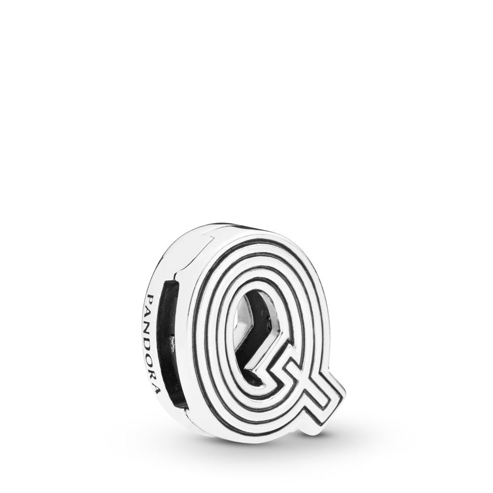 Pandora Reflexions™ Letter Q Clip Charm, Sterling silver, Silicone - PANDORA - #798213
