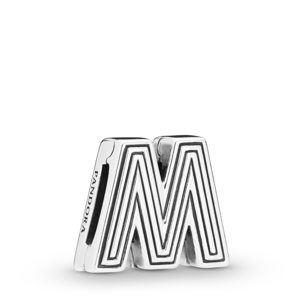 Pandora Reflexions™ Letter M Clip Charm, Sterling silver, Silicone - PANDORA - #798209