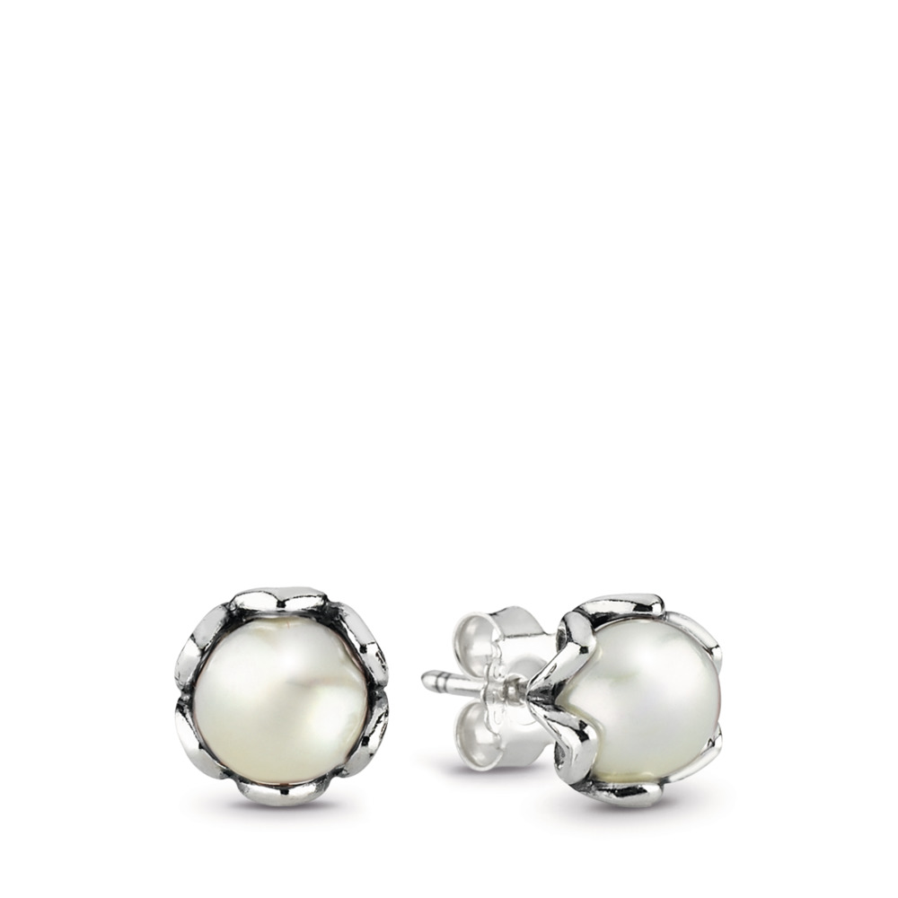 Cultured Elegance Stud Earrings, White Pearl, Sterling silver, White, Freshwater cultured pearl - PANDORA - #290533P