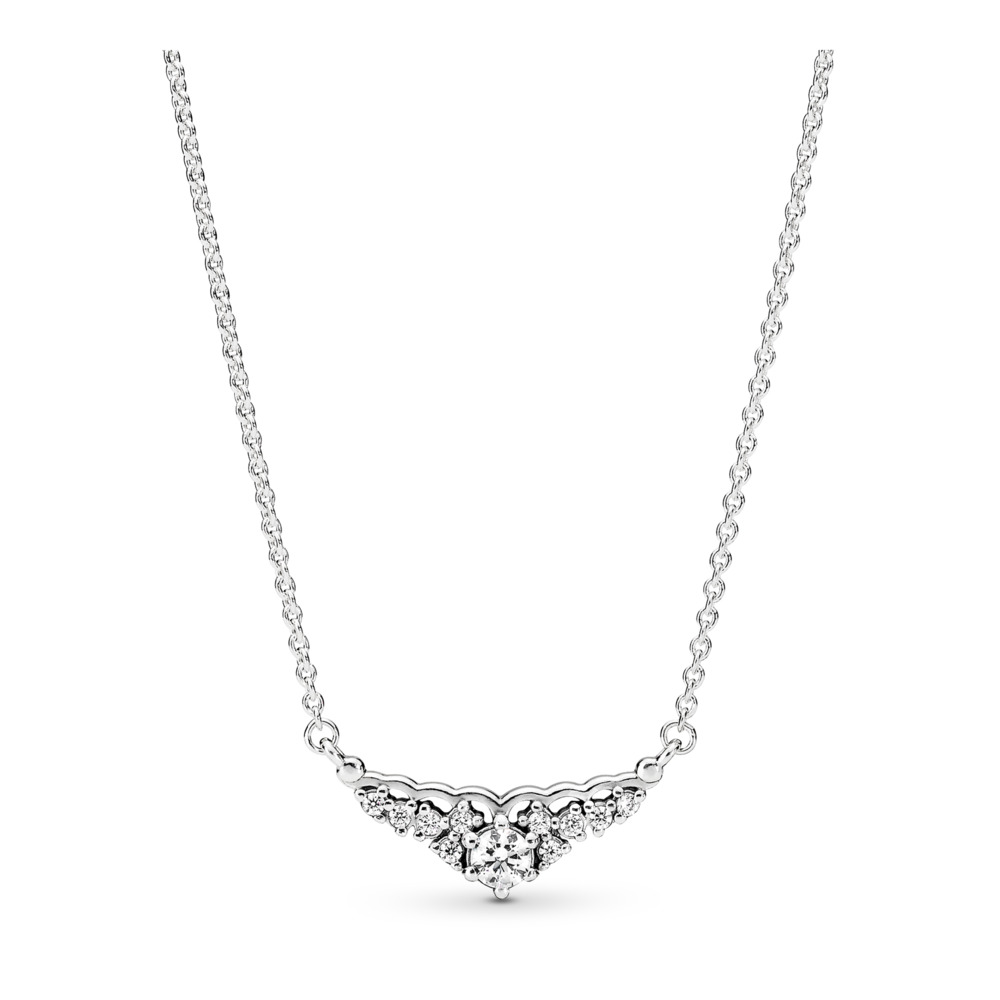 7498a6358c Fairytale Tiara Necklace, Clear CZ, Sterling silver, Cubic Zirconia -  PANDORA - #