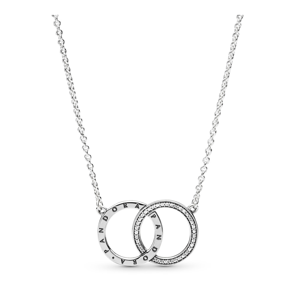 PANDORA Circles Necklace, Clear CZ, Sterling silver, Cubic Zirconia - PANDORA - #396235CZ