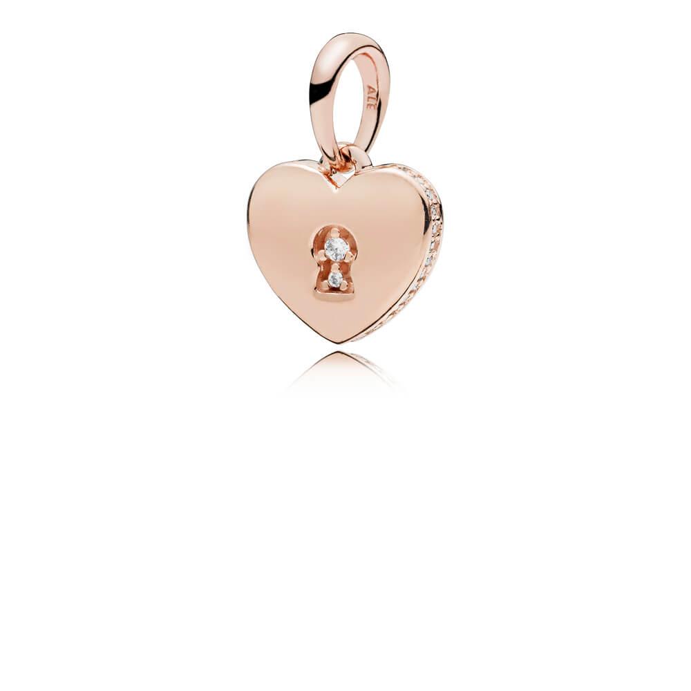 Shimmering Keyhole Pendant, PANDORA Rose™ & Clear CZ